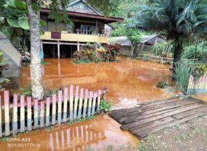 (Akibat Jebolnya Tanggul Tambang PT..CNI sejumlah rumah dan kebun warga tergenang air keruh)