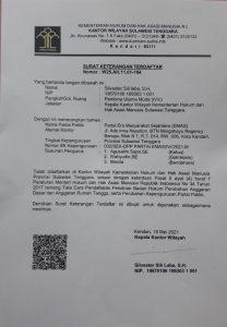 (SKT Kemenkumham Sultra untuk DPD Partai Emas Sultra)