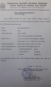 (SKT Kesbangpol Sultra untuk DPD Partai Emas Sultra)
